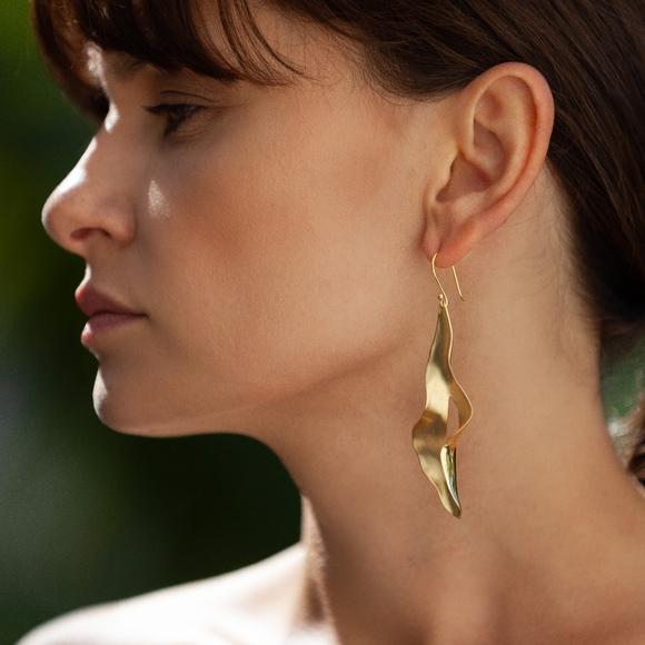 Ink Jewelry Handcrafted Fashion Earring Brass And 18k Gold
